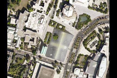 Aerial view of Herzog & de Meuron's Museum of the 20th Century